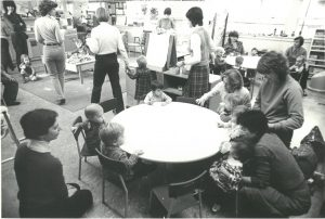 Black and white photo of playgroup from 1970s